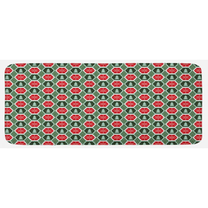 Geometric Shapes Frame With Dotted Background Winter Trees Snow Reseda And  Almond Green Red Kitchen Mat