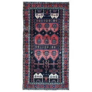 Alayna Hamadan Semi-Antique Hand-Woven Wool Runner Red Area Rug