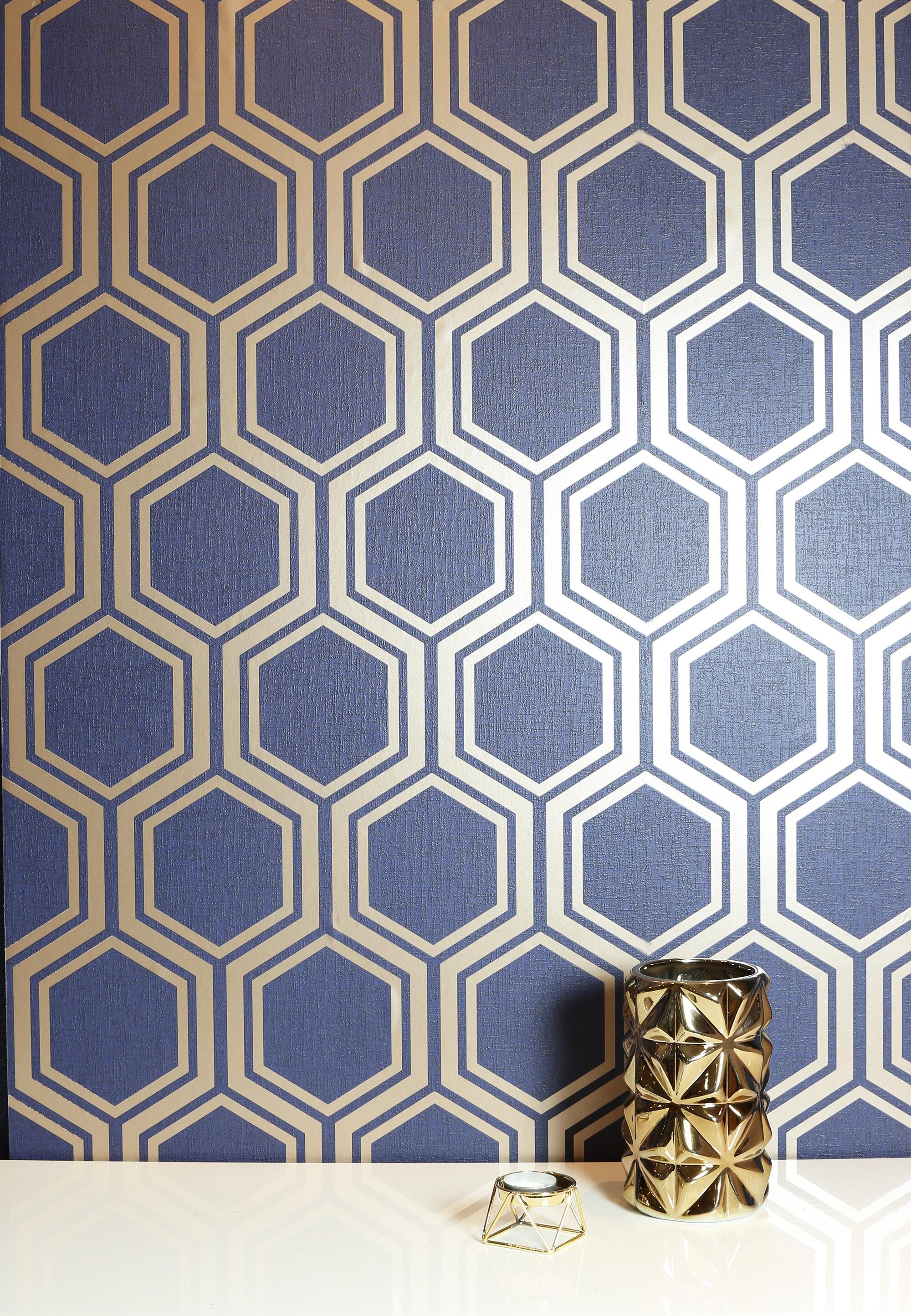 Hexagon 1m X 53cm Matte Metallic Finish Wallpaper Roll