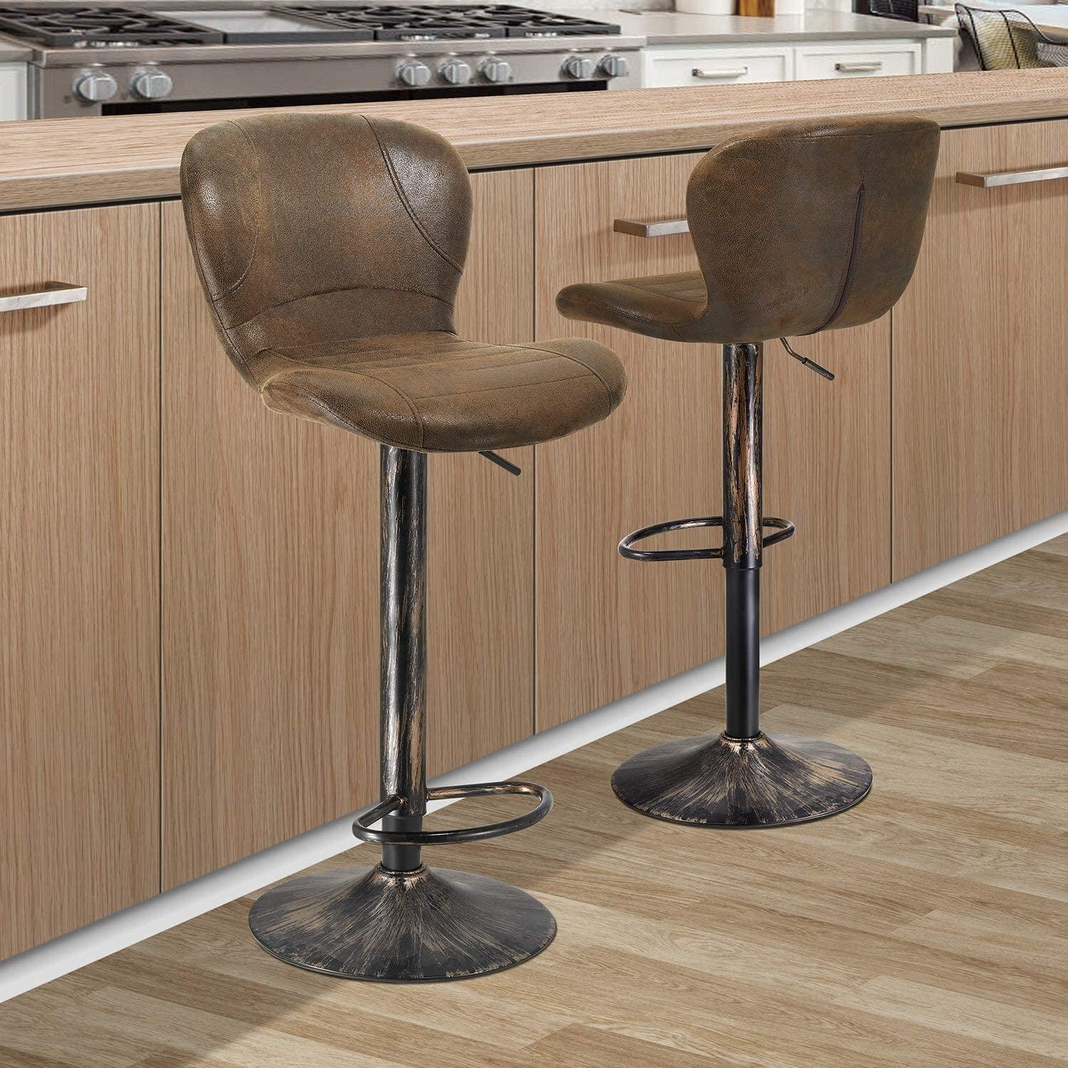 Bar Stools Set Of 9 Height Adjustable Barstools Swivel Counter Chairs With  Backrest PU Leather And Unique Metal Frame Barstool Chairs For Kitchen ...