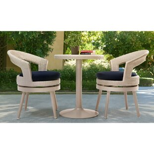 Harborcreek 3 Piece Aluminum Bistro Set with Cushions