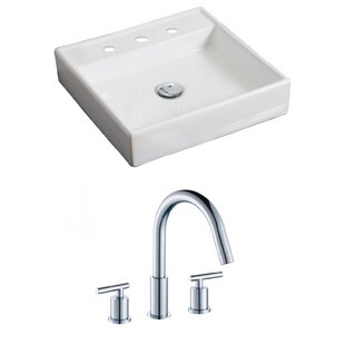 Look for Ceramic Square Vessel Bathroom Sink with Faucet ByAmerican Imaginations