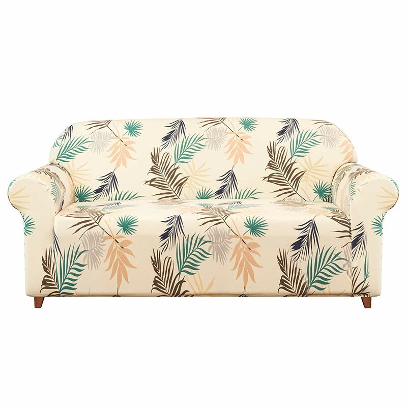 Bay Isle Home Leaves Printed Soft Stretchy Box Cushion Loveseat Slipcover Wayfair Co Uk