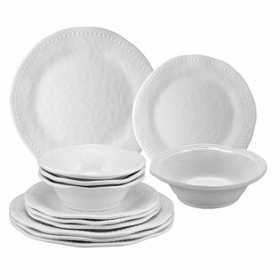 Homerville Beaded 12 Piece Melamine Dinnerware Set Service For 4