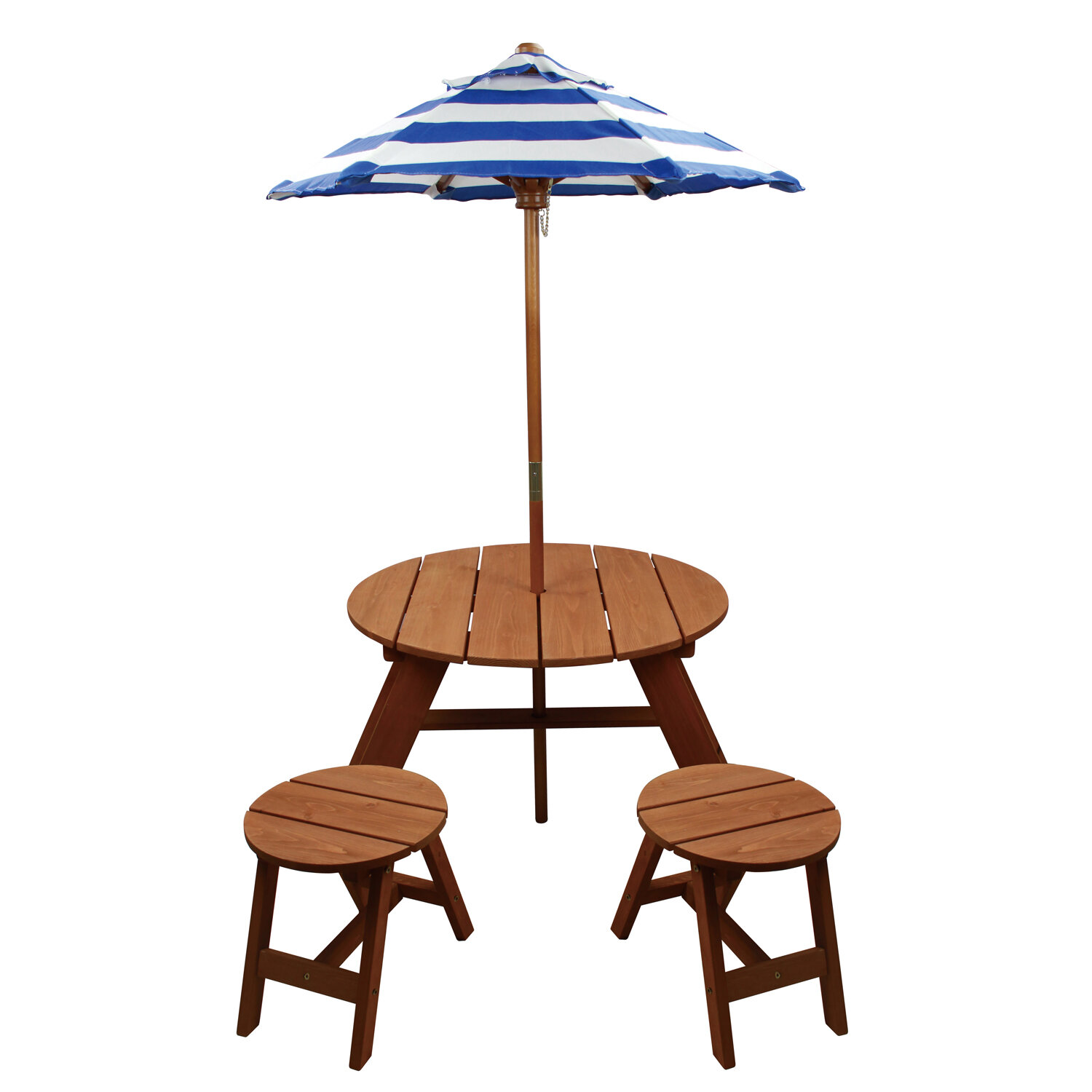 Homeware Kids 4 Piece Wood Round Table And Chair Set With Umbrella   Wayfair