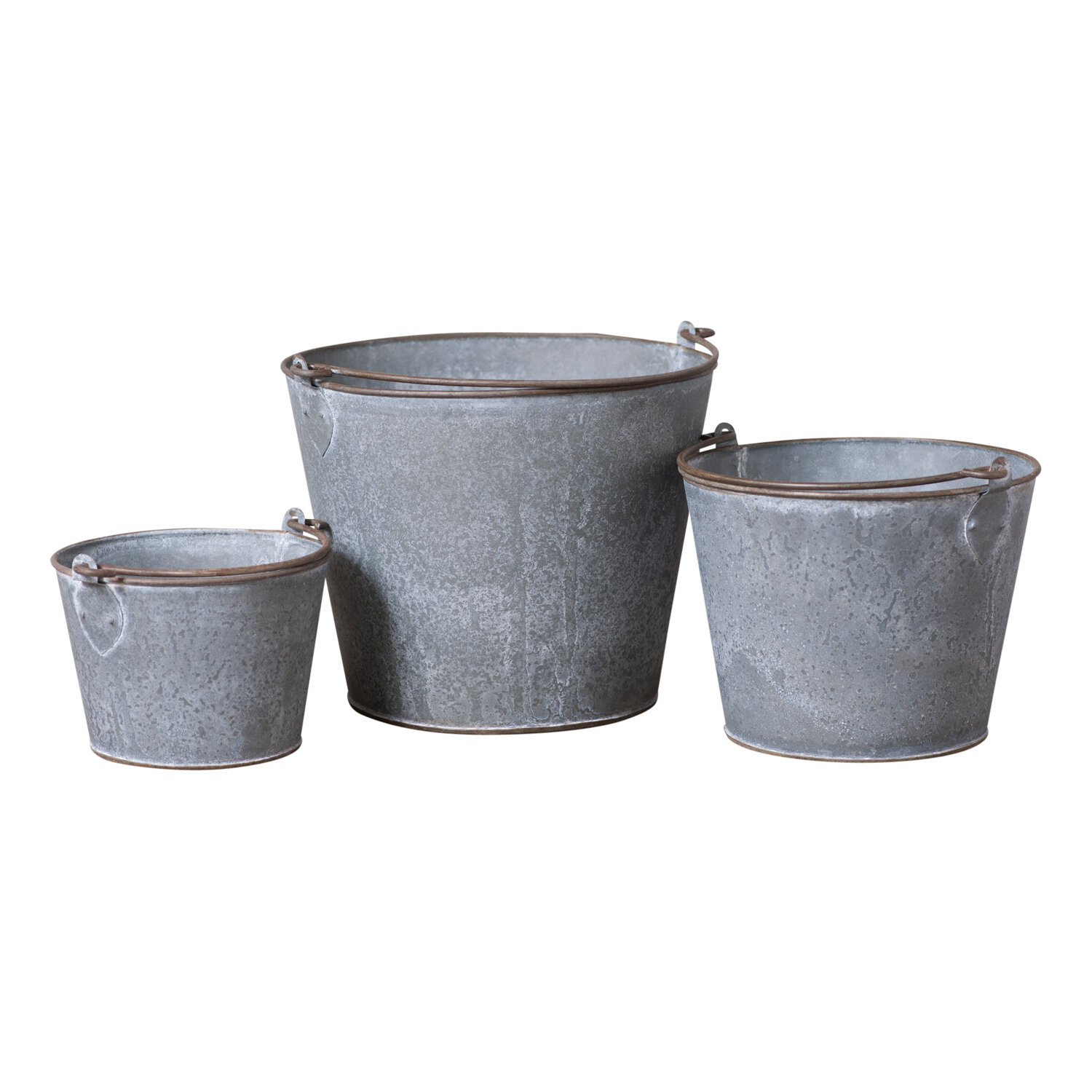 Gracie Oaks 3 Piece Metal Bucket Set Wayfair