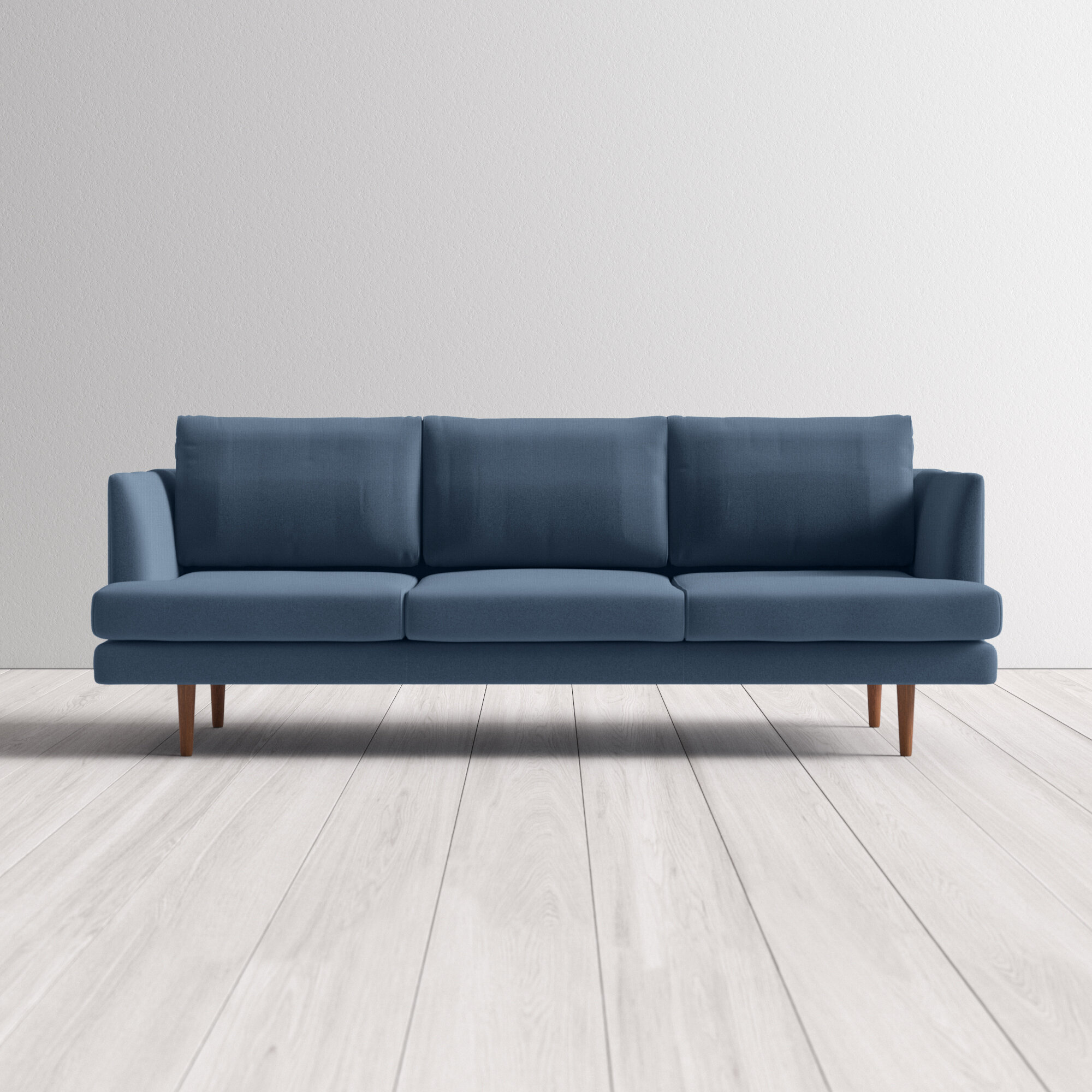 "Norah Velvet 4"" Recessed Arms Sofa"