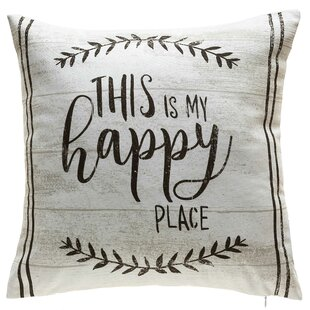 Ramsha This is My Happy Place Indoor/Outdoor Cotton Throw Pillow