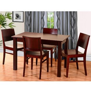 Zinab 5 Piece Solid Wood Dining Set