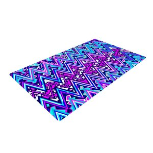 Electric Blue Chevron Area Rug