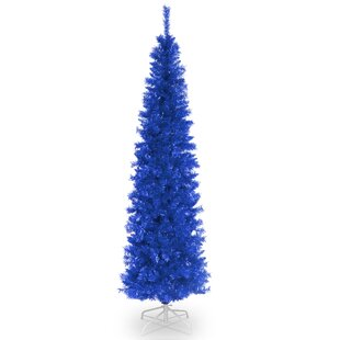 Tinsel Trees 6u0027 Blue Tree Artificial Christmas Unlit With Stand