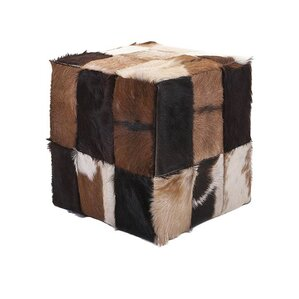 Andros Animal Hide Cube Ottoman by Woodland ..