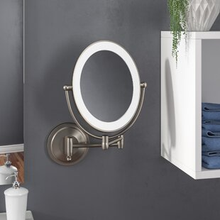 Howell Cordless Dual LED Lighted Oval Wall Mount Mirror with 1X and 10X Magnification By Wrought Studio