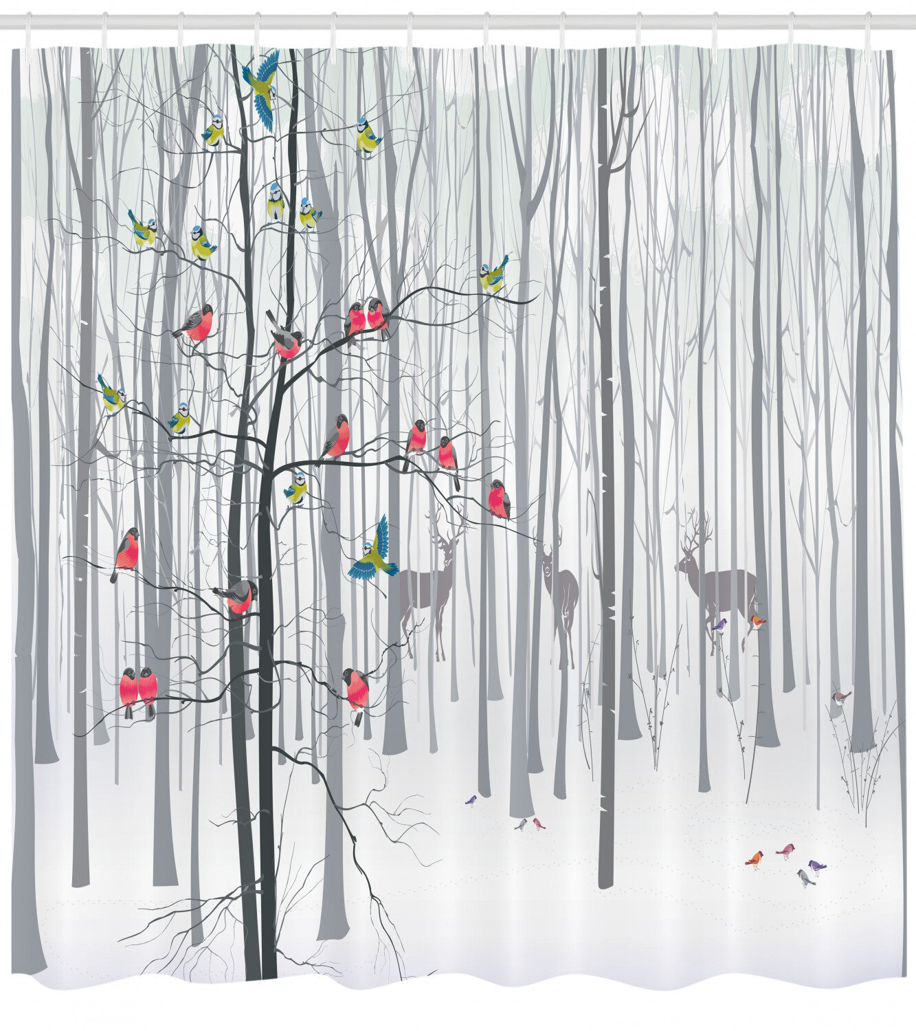 Ambesonne Nature Shower Curtain Winter Animals Colourful Group Of Birds Sitting On Tree Forest Design With Reindeers Cloth Fabric Bathroom Decor Set