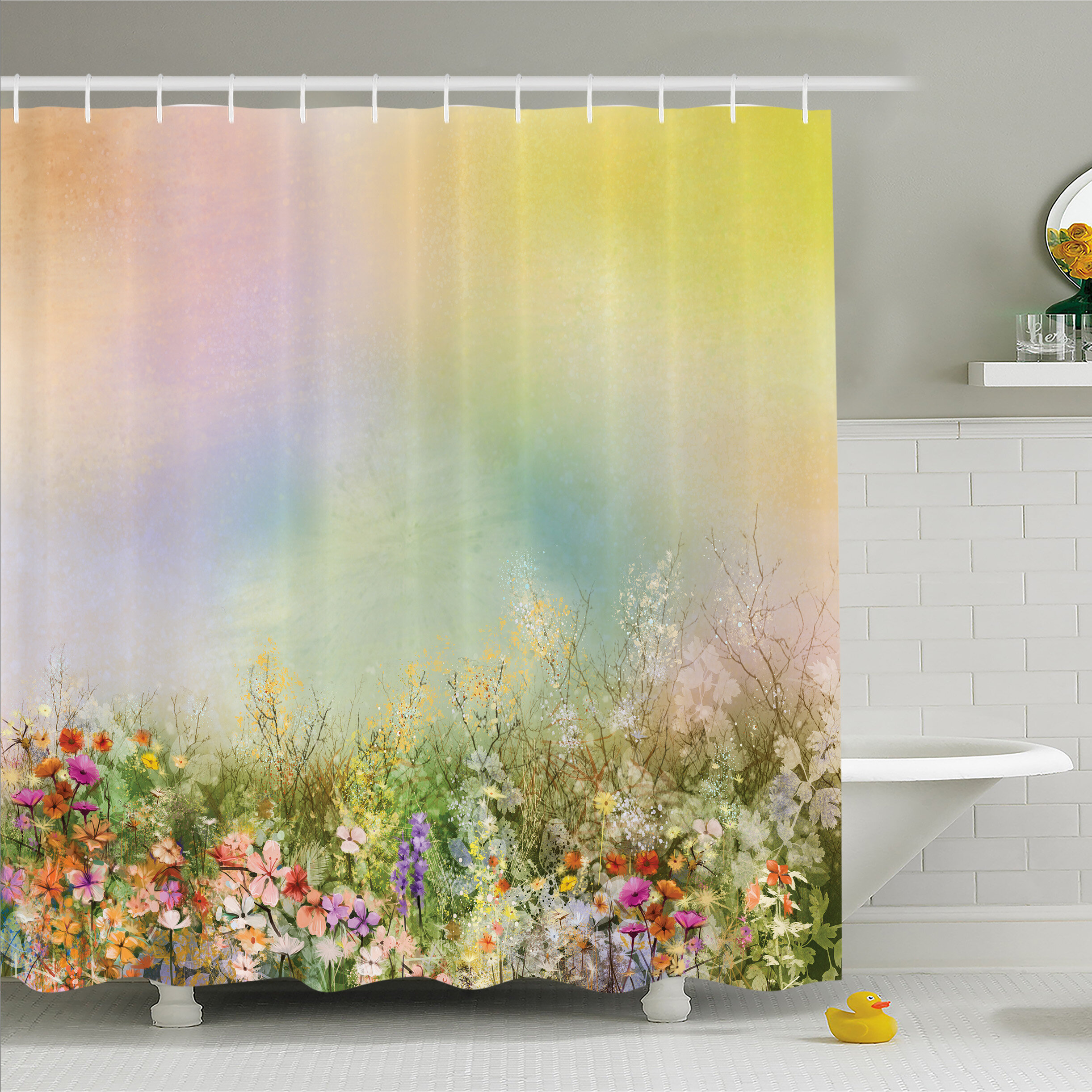 Ambesonne Watercolor Flower Home Cosmos Daisy Cornflower ...