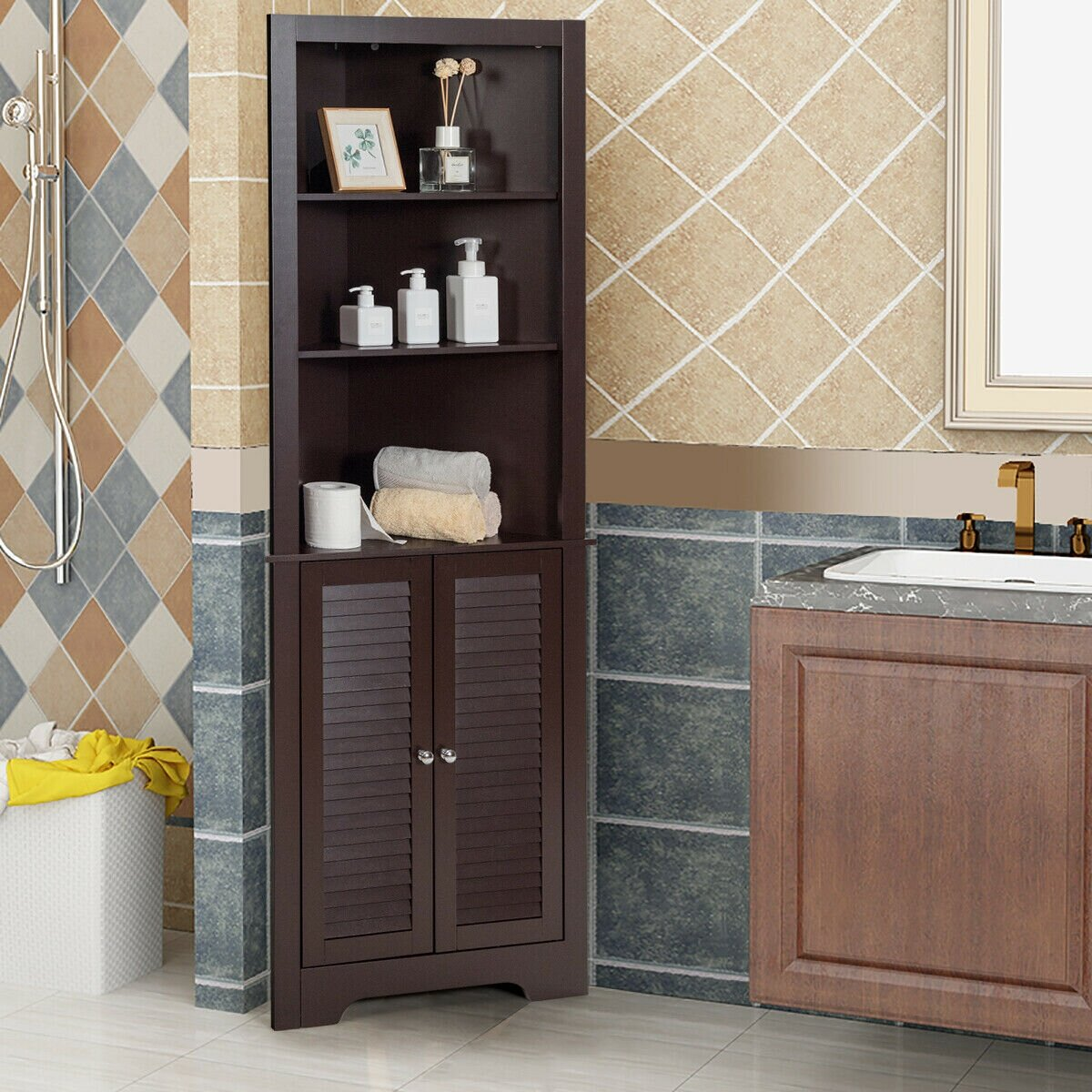 Red Barrel Studio 23 5 W X 68 H X 17 5 D Free Standing Bathroom Cabinet Wayfair