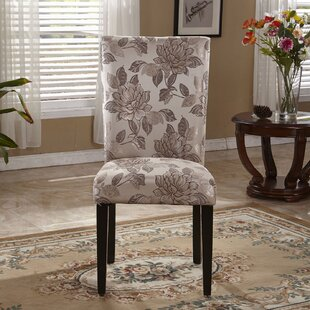 Elegant Floral Parsons Upholstered Dining Chair (Set of 2)