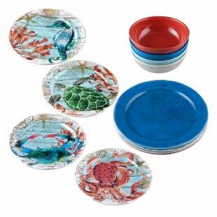 Kinslow 12 Piece Melamine Dinnerware Set, Service for 4