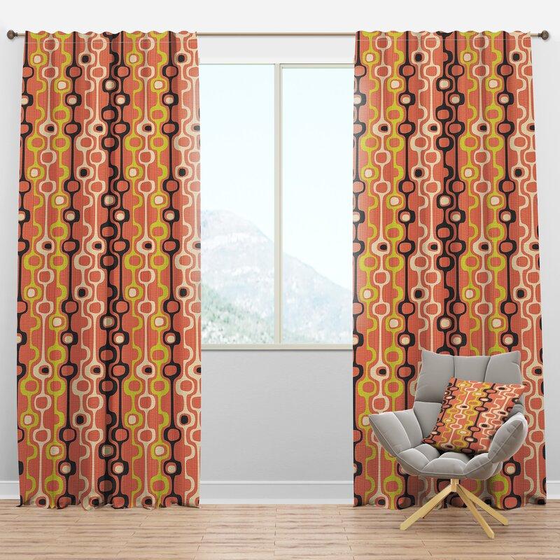 Designart Mid Century Design Xiii Geometric Semi Sheer Thermal Rod Pocket Single Curtain Panel Wayfair
