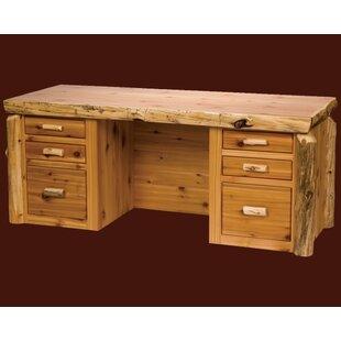 Traditional Cedar Log 6 Drawers Executive Desk by Fireside Lodge Amazing