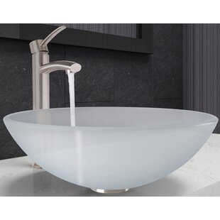 Find Glass Circular Vessel Bathroom Sink with Faucet By VIGO