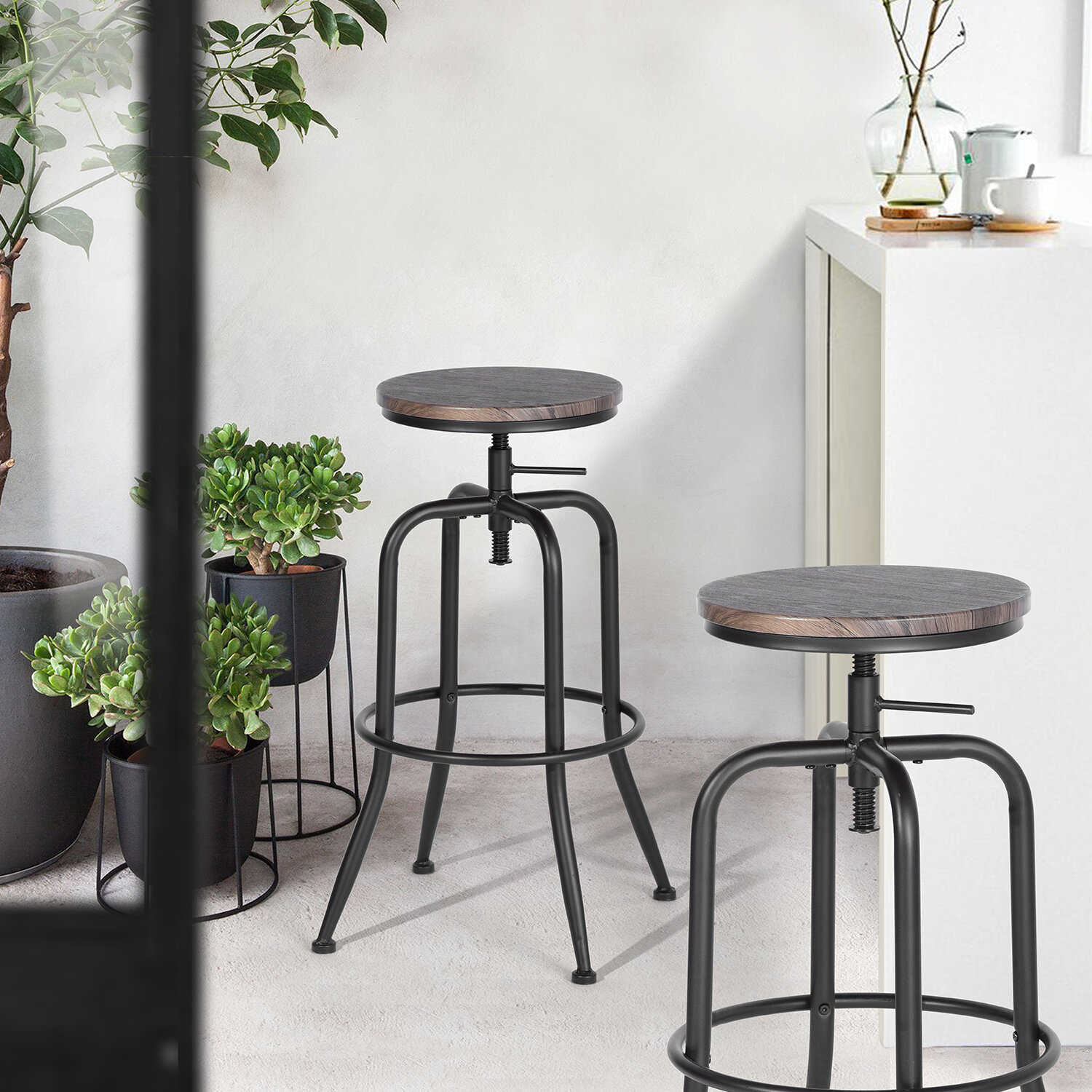 Zipcode Design Grundy Swivel Adjustable Height Bar Stools Reviews Wayfair