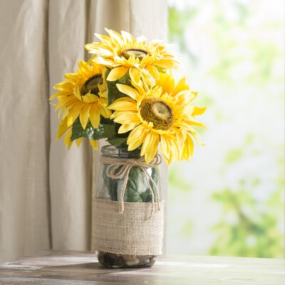 August Grove Sunflowers In A Vase With River Rocks And Faux Water