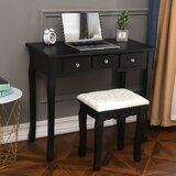 Dawsonville Vanity Set with Stool and Mirror by Ophelia & Co.