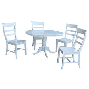 August Grove Petra Traditional Extendable Pedestal 5 Piece Dining Set