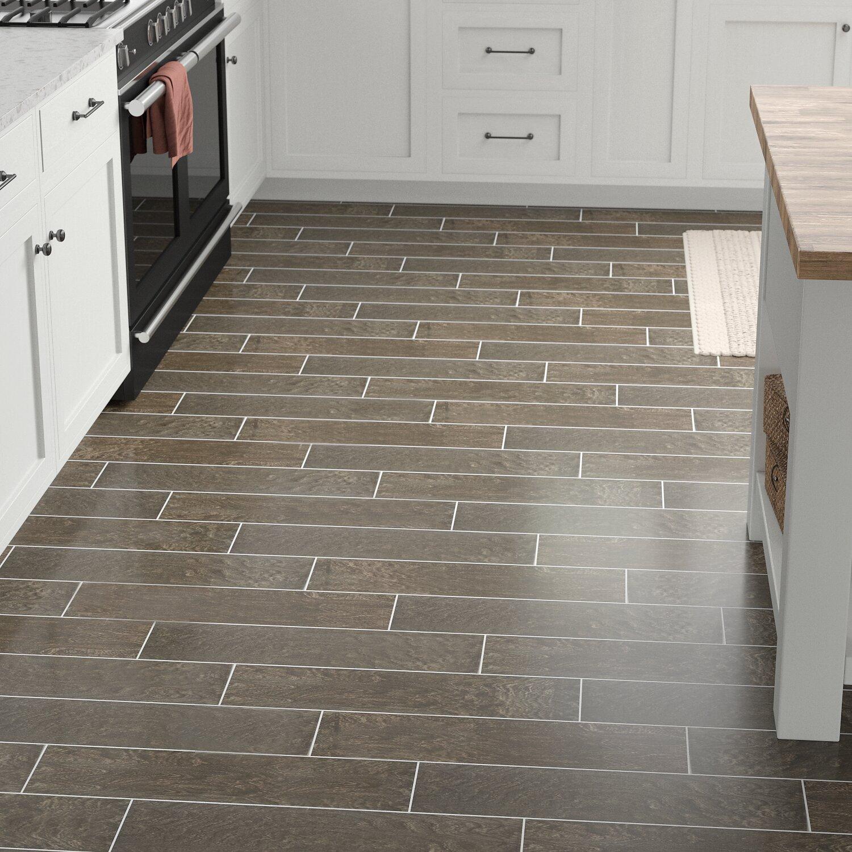 """Modern Visual 7"""" x 7"""" Porcelain Wood Look Tile in Smoky Brown"""