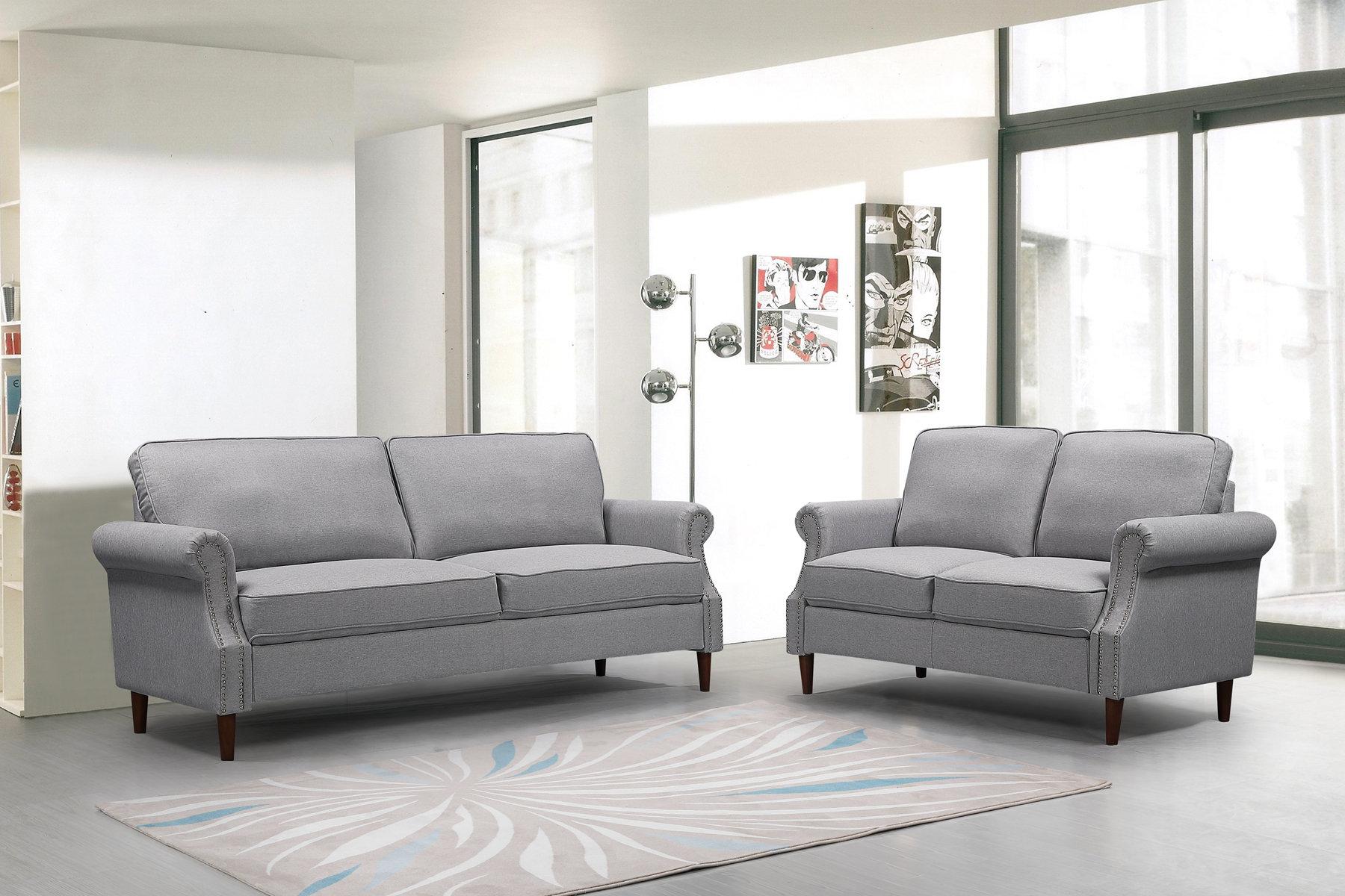 Picture of: Red Barrel Studio 2p 3p Living Room Light Gray Sofa Wayfair