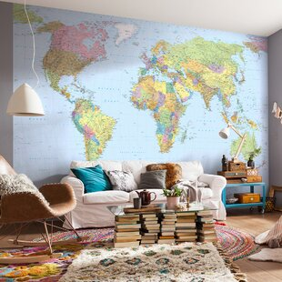 World Map Mural Wallpaper Wayfair