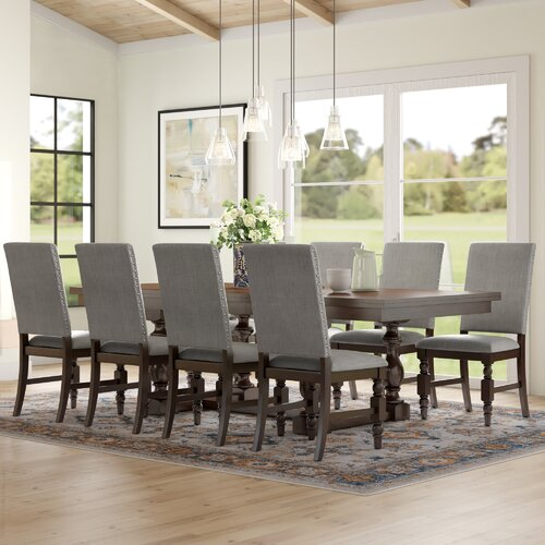 Three Posts Dublin 9 Piece Extendable Solid Wood Dining Set
