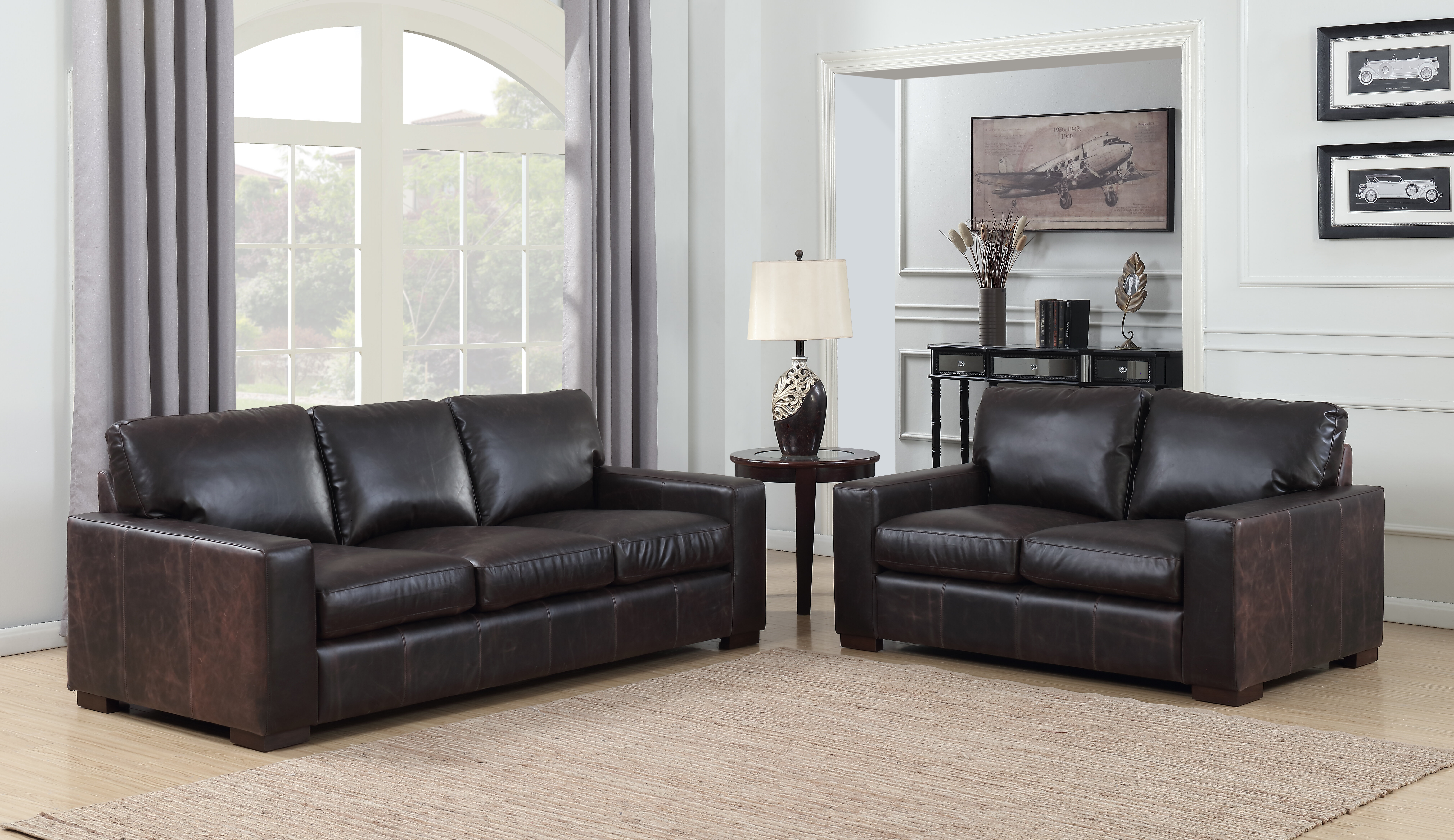 Picture of: 17 Stories Priscila 2 Piece Leather Living Room Set Wayfair