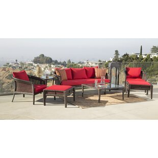 Fincham Outdoor Wicker 7 Piece Rattan Sunbrella Conversation Set with Cushions