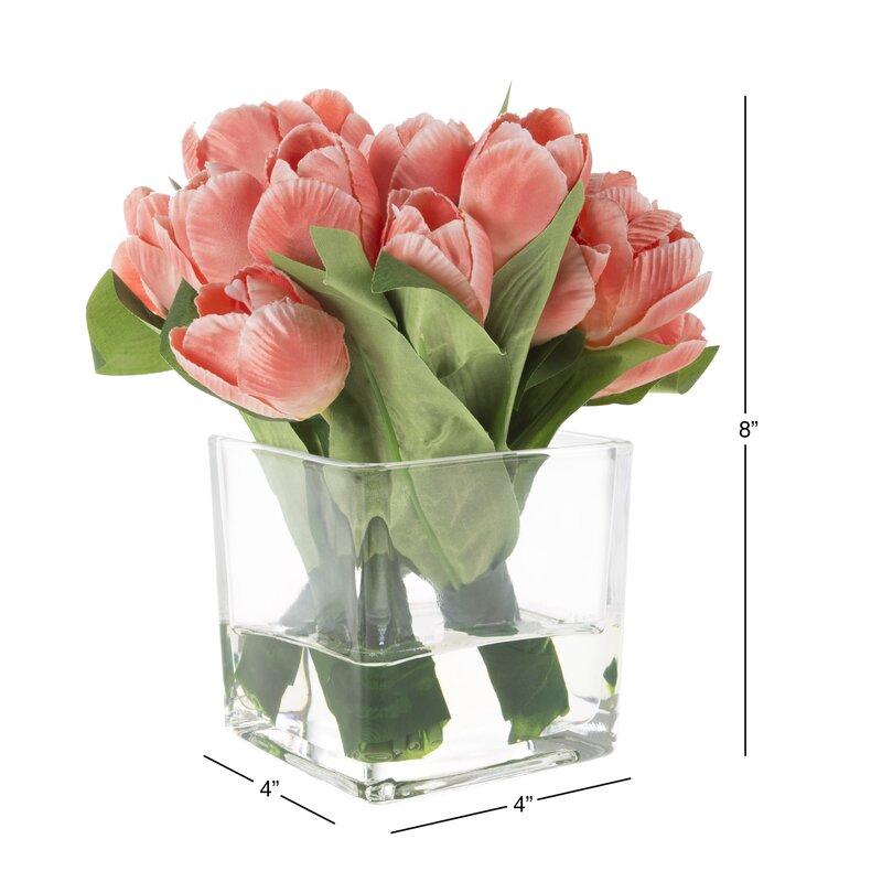 August Grove Tulip Floral Arrangement In Glass Vase Reviews Wayfair