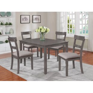 Clea 5 Piece Solid Wood Dining Set