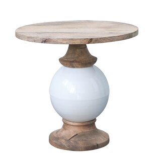 Hilary Mango Wood and Metal Round End Table