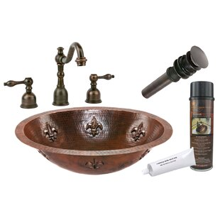 Premier Copper Products Fleur De Lis Metal Oval Undermount Bathroom Sink with Faucet