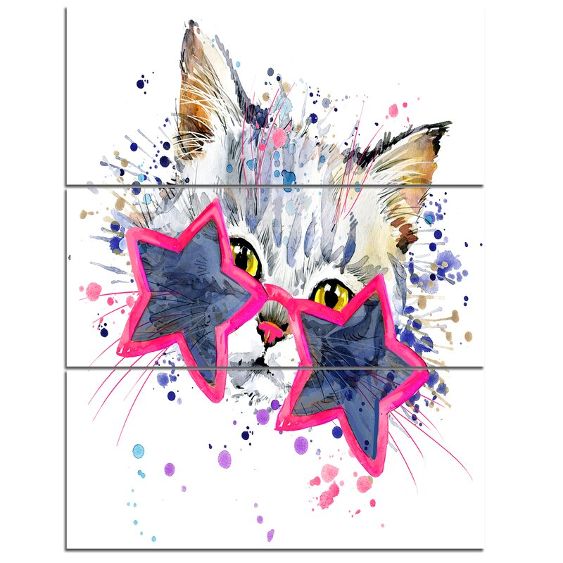 Designart Cute Kitten With Blue Stars 3 Piece Wall Art On Wrapped Canvas Set Wayfair
