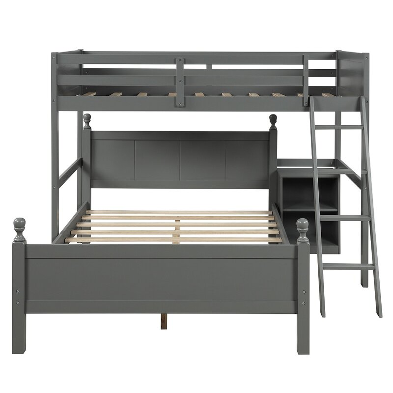 Harriet Bee Eclipse Twin Over Full L Shape Bunk Bed With Bookcase Wayfair