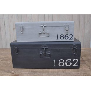 2 Piece Rustic Iron Trunk Set
