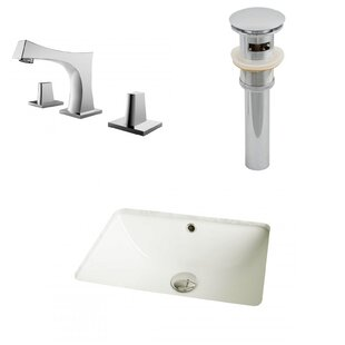 Compare Ceramic Rectangular Undermount Bathroom Sink with Faucet and Overflow ByAmerican Imaginations