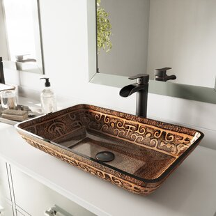 Price comparison Glass Rectangular Vessel Bathroom Sink with Faucet By VIGO