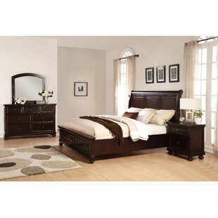 Jaimes Solid Wood Sleigh 4 Piece Bedroom Set