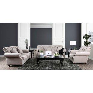Warkworth Modern 3 Piece Living Room Set ByCanora Grey