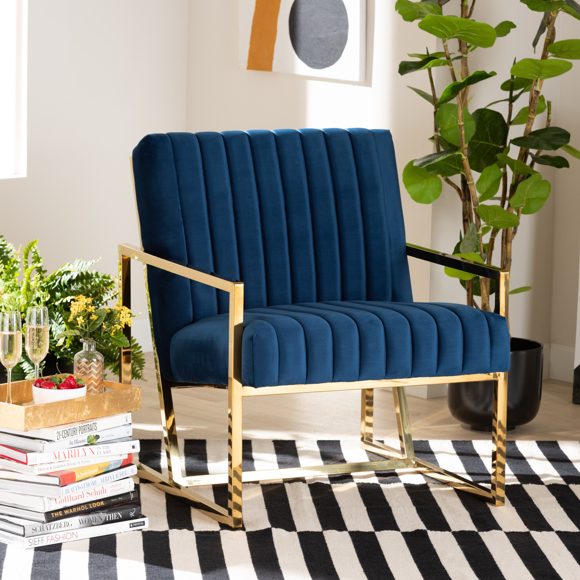 Picture of: Everly Quinn Gracia Luxe And Glam Royal Blue Velvet Fabric Upholstered And Gold Finished Living Room Accent Chair Wayfair Ca