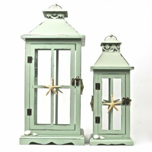 2 Piece Wood/Metal Lantern Set