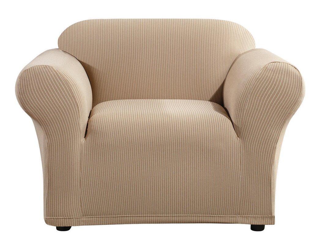 Marvelous Simple Stripe Box Cushion Armchair Slipcover