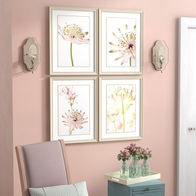 'Astrantia' 4 Piece Framed Photographic Print Set on Glass